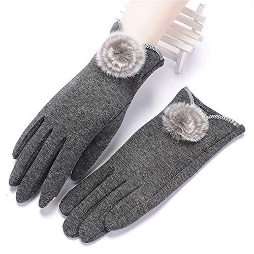 Professionelle Handschuhe Winter-Touchscreen-Handschuhe für Damen Kaltes Wetter Winddichtes verdicktes warmes weiches Radfahren, das Handschuhe rauscht Sicherheits-Werkzeugzubehör (Farbe : Grau) (Damen Hut Kaltem Wetter)