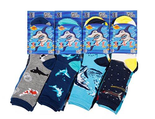 IMTD 12 Pairs Boys Kids Fun Pattern Shark Sea Life Fish Design Socks Boys Back To School Socks Sizes