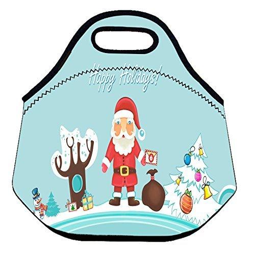 Zmvise avant Noël Santa Cruz Surf Lunch Tote isotherme réutilisable Picnic Lunch Sacs Boîtes pour homme femme adultes enfants Toddler infirmières