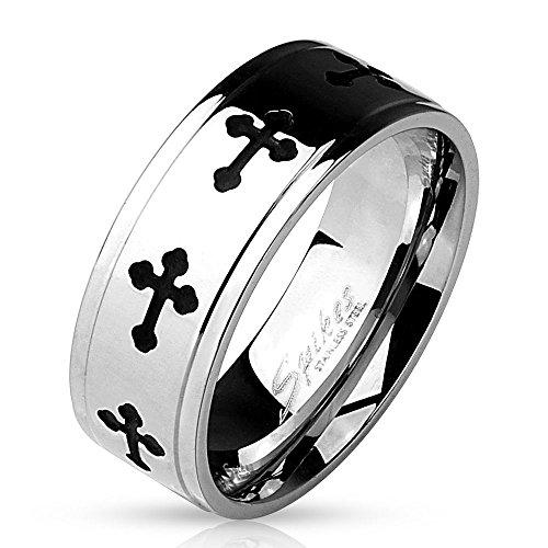 Bungsa 67 (21.3) Ring silber mit schwarzem Kreuz für Herren (Männer Fingerring Herrenring Edelstahlring Chirurgenstahl schwarz)