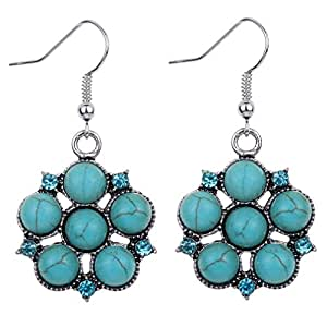 YAZILIND Tibetan Silver Round Turquoise Inlay Crystal Flower Hook Drop Dangle Earrings for Women