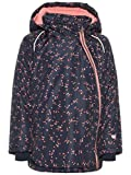 NAME IT Mini Mädchen Jacke, Anorak, Winterjacke MICCO mit Blumenmuster in Dress Blues, Größe:86