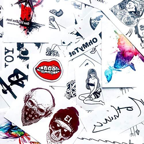 Cabeza de vikingo etiqueta engomada falso temporal del tatuaje (Juego de 2) - www.ohmytat.com