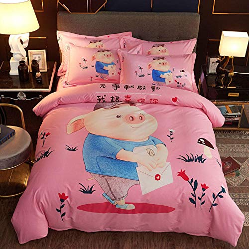 yaonuli Cotton Thickening ecologically Active Sanding Cotton Printing Four-Piece Piglet Doodle-Powder 2.0m Bed
