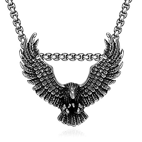 BODYA Vintage Stainless Steel Punk Hawk Eagle Wings Feather Pendant Biker Necklace Men's Silver Black 24
