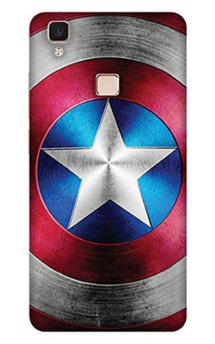 PrintHaat Designer Back Case Cover for Vivo V3 Max :: Vivo V3 Max :: (Sci-Fi Super Power Captain America) :: Captain America Shield :: Superhero :: Powerful :: Shining Star :: red and blue :: fantasy world :: civil war