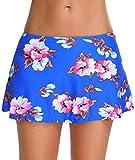 OLIPHEE Damen Baderock mit integrierter innenslip Bikinirock Schwimmen Strandrock Volant Design Blau Blume XL