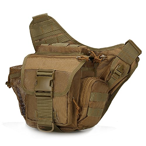 2016Hip Pack militare Tactica vita Packs impermeabile Marsupio Cintura Marsupio Borsa da Sella Climb Borsa Uomo Borsa a tracolla, sand camo Brown