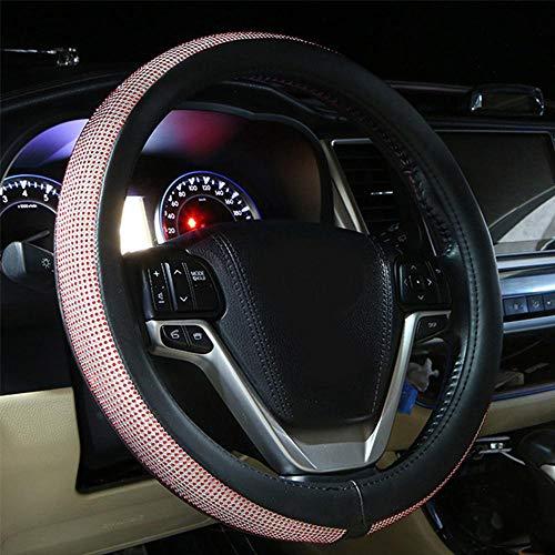 Volwco Auto Lenkradhülle Bling Bling, Diamant Glitzernden Lenkradabdeckung 15inchs Anti Rutsch Lenkradbezug Lenkradschone für Damen Mädchen (Pink)