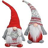matches21 Weihnachtswichtel Dekofigur Textil / Strick 1 Stk. Frau ODER Mann 15x10x38 cm Adventsdeko Weihnachtsdeko