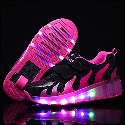 LED Lumières Couleur Chaussure Brillant Roue Clignotant Sport Chaussures Led Coloré Paillettes Roulettes Sneakers Unisexe Fille Garçon Rose noire