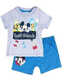 Ensemble short et T-shirt bébé garçon Mickey Gris/bleu de 3 à 24mois