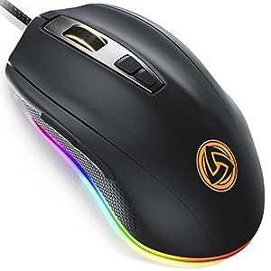 LUDOS FLAMMA Gaming Maus RGB 10.000 DPI 7 Programmierbare Tasten Kabel USB Ergonomische Gaming Mouse mit【Deutsch Software】Omron-Schaltern, 8 Verstellbare DPI-Stufen (500-10.000), RGB-Beleuchtung