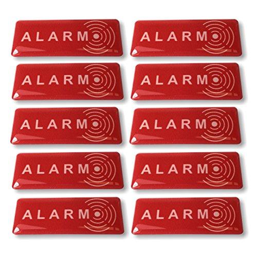 Aufkleber Abschrecken Alarm-Qualität Außen (Regen, UV,...)-49 x 19 mm - 10 Stück Alarm-aufkleber