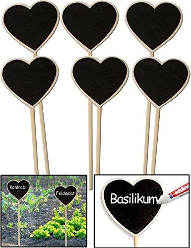 HomeTools.eu – 6X Klassische Holz Pflanz-Schilder   Beet Balkon Kräuter-Garten Blumen-Kübel   Landhaus   beschreibbar, 22cm, Herz, 6er Set