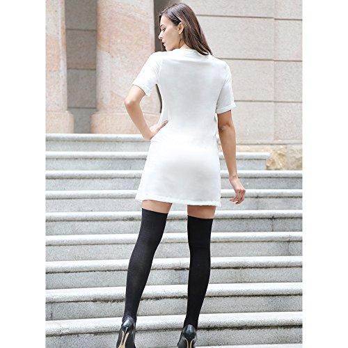 Manica Corta Donne V Profondo Taglio Basso Solido di Colore Materiale Elastico Corto Camicia di Vestito Minigonna Tops Bianco