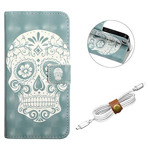 QY Mart Hülle Compatible with iPhone 5/5S/SE Premium PU Leder Flip Brieftasche Ledertasche Geprägt 3D Niedliches Cartoon Muster Innere TPU Stoßstangen Schale mit USB Wickler - Schädel