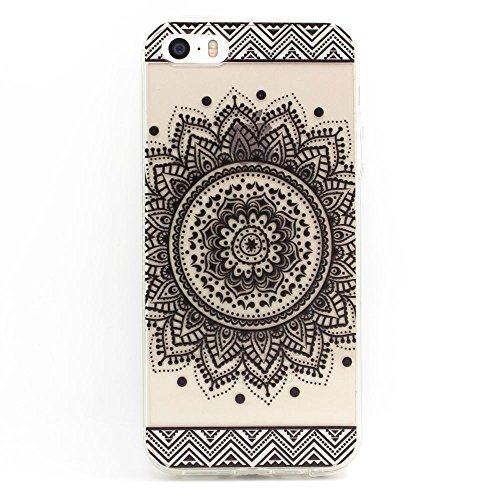 JIAXIUFEN TPU Gel Silicone Protettivo Skin Custodia Protettiva Shell Case Cover Per Apple iPhone 5 5S - Henna Black Million Spent Ethnic Tribal