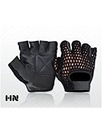 Fingerless Mesh Leather Cycle Biker Gym Gloves Cycling Body building Weight lifting Black