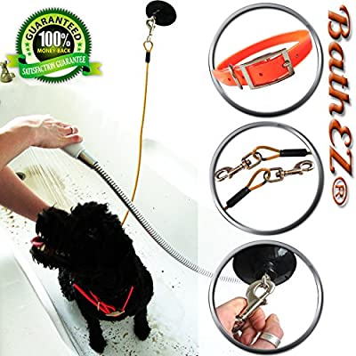 BathEz Dog Durable Bathing Cable with Top Performance Strong Suction Cup and Collar