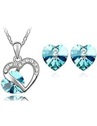 Jewellery Set 4Pieces & # X153; Heart Turquoise Elements Crystal
