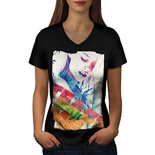 Mädchen Gesicht Streifen Mode Verführung Damen M V-Ausschnitt T-shirt | (Perücke Verführung Schwarze)