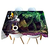 HUANZI Tischdecke QualitäTs Tischdecke Fleckschutz 3D Abwaschbar Musterdruckdekoration-Tischdecke des GrüNen Pflanzen 3D Druck, 90cmx150cm
