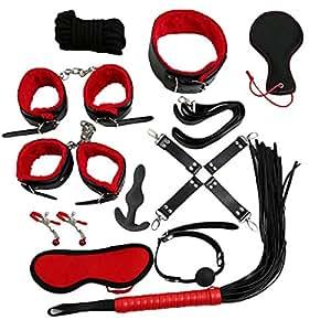 BONDAGERIE® Kit Bondage 8 o 11 pezzi più PLUG ANALE incluso Manette BDSM (11 Pezzi, Nero/Rosso)