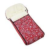 BAMBINIWELT universaler Winterfußsack (108cm), auch geeignet für Babyschale, Kinderwagen, Buggy, aus Wolle DESIGN (Flowers Rot)