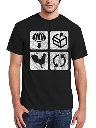 clothinx Herren T-Shirt Drop Loot Winner Winner Chicken Dinner Repeat Schwarz Gr. 3XL (Herren T-shirt Drop)