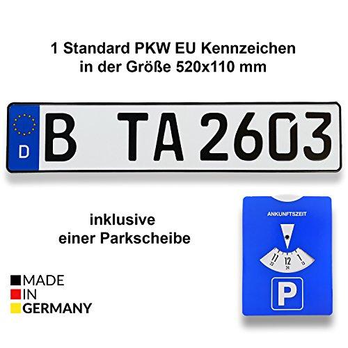 1-Standard-PKW-EU-Kennzeichen-in-der-Gre-520x110-mm-inklusive-einer-Parkscheibe