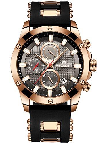 Herren Blau Uhren Herren Militär Chronograph Leuchtend Wasserdichte Sportuhr Herren Große Gesichts Tag Gummi Analog Quarz Uhr Mode Luxus Geschäft Kleid Designer Armbanduhren für Männer (Schwarz 1)