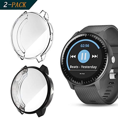 Cerike Custodia per Garmin Vivoactive 3 Music Screen Protector, Custodia Protettiva Complessiva TPU HD Accessori Ultra-Sottili Pellicola per Garmin Vivoactive 3 Music GPS Smartwatch (Chiaro+Nero)