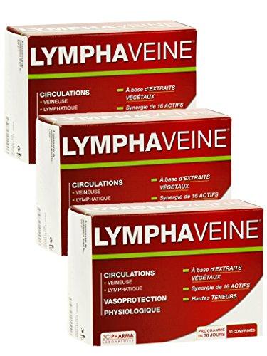 3C Pharma Lymphaveine Circulation Jambes Chevilles - Lot de 3 Boites de 60 Comprimés