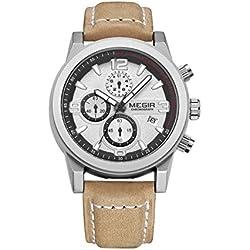 Man, Quartz Watch, Business, Leisure, Outdoor, Multifunction, 6 Pointer, PU leather, M0535