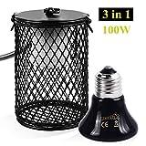 Pecute Heizung Keramik Waermelampe mit Schutzgitter und Anti-Biss-Rohr 100W Heizstrahler Heizung Lampe