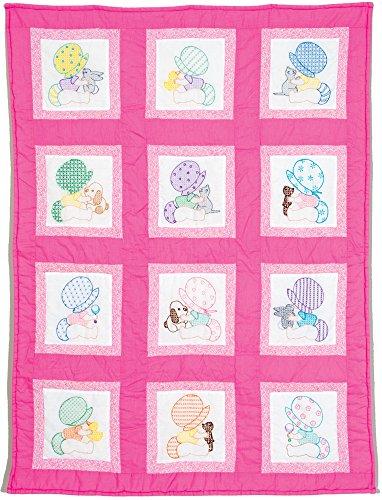 Jack Dempsey 9x 9Zoll Sunbonnet Babys Prägung weiß Kinderzimmer Quilt Blocks, 12Stück
