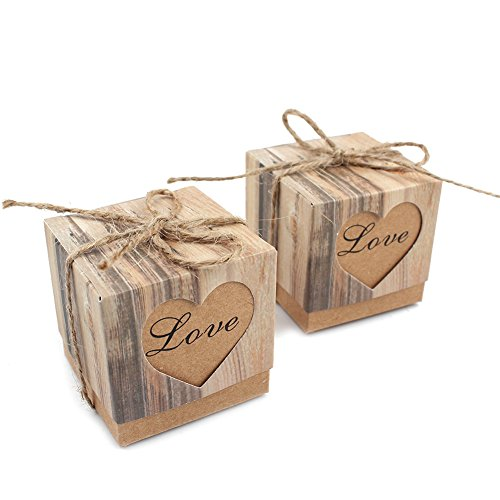 Candy Box Romantic Heart Kraft Gift Box with Burlap Twine Chic Wedding Favors and Gifts Bag Party Supplies (Small Favor Boxen)