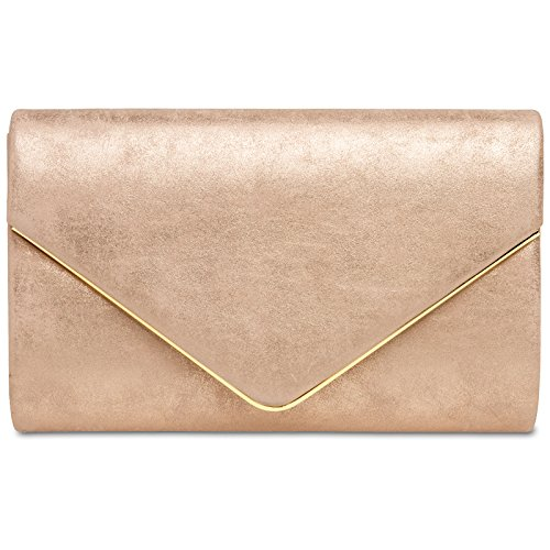 CASPAR TA349 Damen elegante Envelope Clutch Tasche / Abendtasche mit langer Kette, Farbe:roségold;Größe:One Size