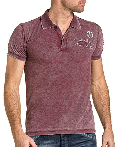 BLZ jeans - Piqué Polo Mann Mode Burgundy Rippen Rot
