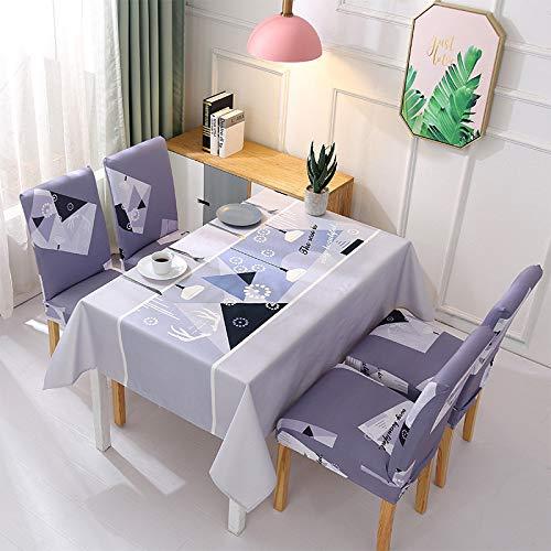 XIEPEI Wasserdichter nordischer kleiner frischer Stoff Home Decor Tischdecke und Stuhl Set elastisch All-Inclusive Stuhlhusse grau 120 x 160 cm