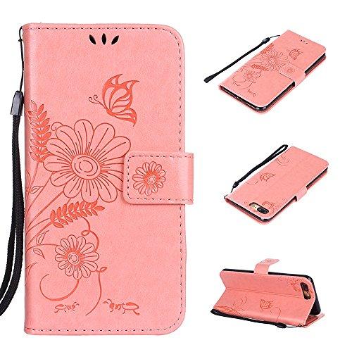 Cover per iPhone 8 Plus / iPhone 7 Plus, Vectady Custodia Cover in Pelle a Libro Portafoglio Wallet Magnetica Flip Cuoio Leather Case Protettiva Antiurto Caso con Porta Carte Funzione Cinturino da Pol Rosa Colore
