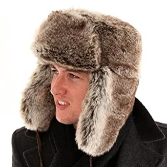 New Mens Ladies Unisex Thick Faux Fur Trapper Warm Winter Thermal Hat A781. Fully Satin Quilt Lining.A Very Warm Hat 58cm