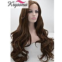 K'ryssma Pelucas realistas para las mujeres del chocolate color ondulado natural del pelo sintético largo sin cola del frente del cordón peluca mano atada a la mitad de calor seguro 26 pulgadas