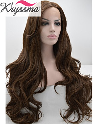 kryssma-realistic-wigs-for-women-chocolate-colour-natural-wavy-long-synthetic-hair-glueless-lace-fro