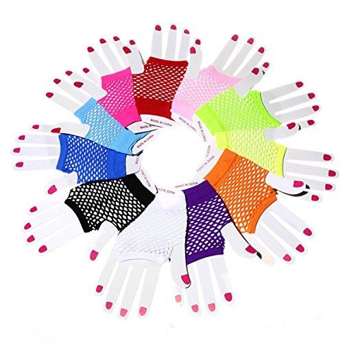 Comfysail 12PCS Netzhandschuhe fingerlos Fishnet Gloves Short Neon Accessory Fancy Dress Einheitsgröße kurz handschuhe