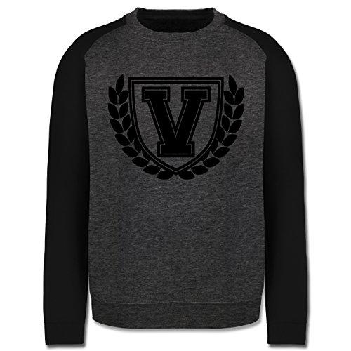 Anfangsbuchstaben - V Collegestyle - Herren Baseball Pullover Dunkelgrau Meliert/Schwarz