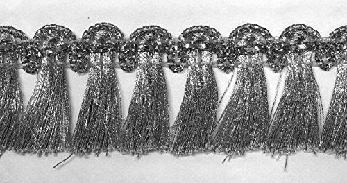 16,40m Fransen-Borte 2,5cm breit Farbe: Lurex-Silber TSL-1427-silber