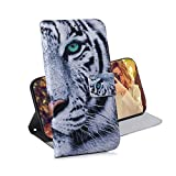 COTDINFOR Huawei Y6 2019 Case Wallet Cool Creative Art Painted PU Leather Flip Magnetic Clasp Card Holder Cover for Huawei Honor 8A / Y6 2019 Green-eyed Tiger TX-CH.