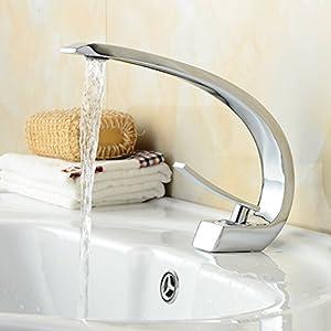 Auralum Chrom Waschtischarmatur Bad Armatur Einhebelmischer Mischbatterie Waschbeckenarmatur für Badezimmer